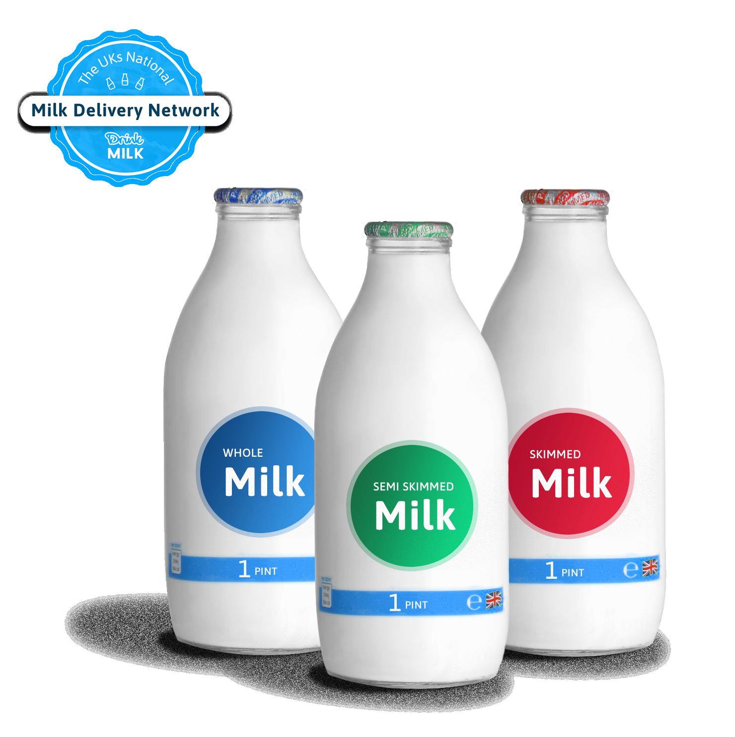 Pints of milk in glass