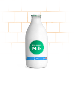 office skimmed glass milk bottle