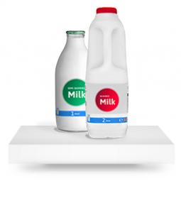milk on a shelf